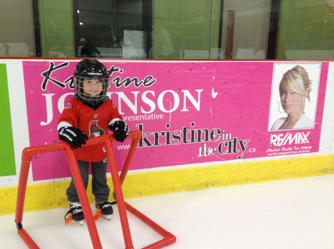 LOVE receiving pictures like this from clients of their little cuties with my rink board at GRC
